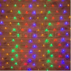 Гирлянда - сеть 1,5х1,5м, прозрачный ПВХ, 150 LED Мультиколор
